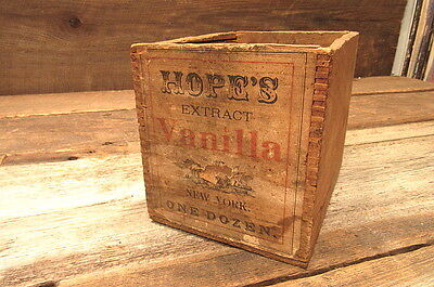 Vintage Antique Hope's Vanilla Extract Wooden Shipping Box Crate W/ Paper Label