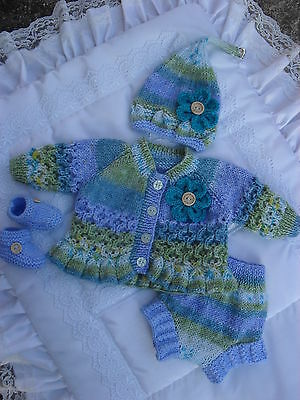 "Hand Knitted Matinee Set For A 16""-18"" Reborn Suit Pixie/Fairy/Elf/Fantasy Doll"