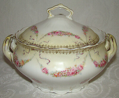 Vintage Carl Teilsch 2 Handled Large Covered Bowl Old Ivory Pink Roses Swags