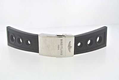 Original Breitling Rubber Black Color Watch Band, 24mm, Deployment Buckle