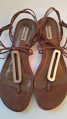 Dune brown gold sandals real leather UK4 EUR 37
