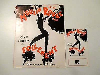 1977 Moulin Rouge Paris Cabaret Program And Table Card Risque Showgirls Nude