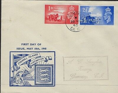 GB :1948 Channel Islands Liberation pair on illustrated FDC-ALDERNEY s/ring