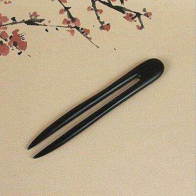 Black Handmade Women Stick Vintage Wooden Hair Pin Ebony