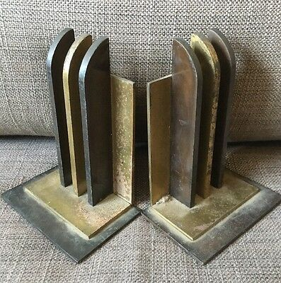 Antique Art Deco Empire Industrial Chase  Mixed Metal Statue Sculpture Bookends