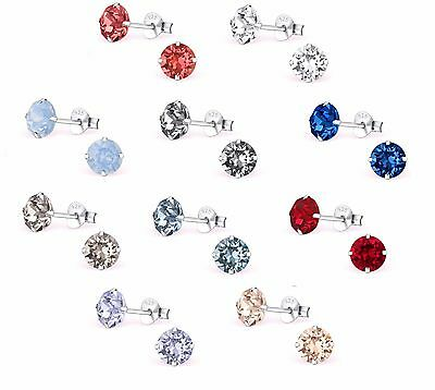 925 Sterling Silver Crystal Round Studs Earrings 393