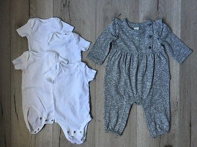 GAP GIRL BABY!! Gray Heather Bodysuit, 4 White Bodysuits, Size 3-6 Months, NEW
