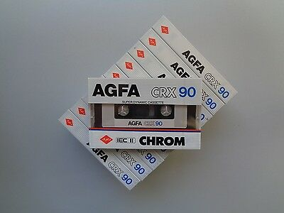 10 Audio Cassette Tape AGFA CRX 90 From 1985  ** New & Sealed **