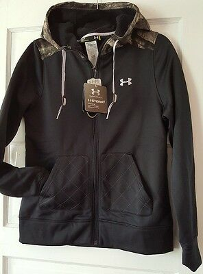 $85 Under Armour Black Fitted Camo Full Zip Hoodie mossy oak Jacket M w/tag