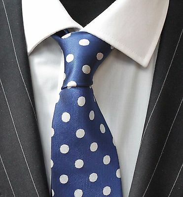 Tie Neck tie with Handkerchief Blue with Silvery White Spot