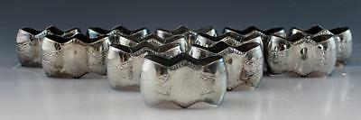 Antique Japanese Aesthetic Set of 12 Silverplate Napkin Rings Bat Wing Shaped