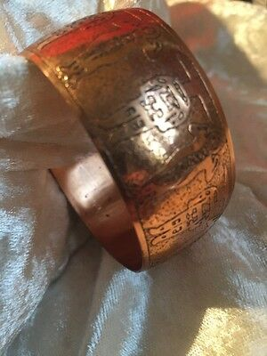 Vintage Unique Copper Etched Ethnic Cuff Bracelet Boho Hippy Festival Tribal