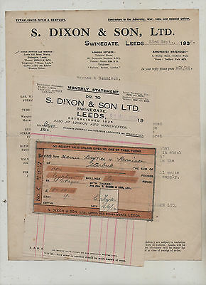 Leeds  Sanitary  Goods  Manufacturers  Invoice / Letter.