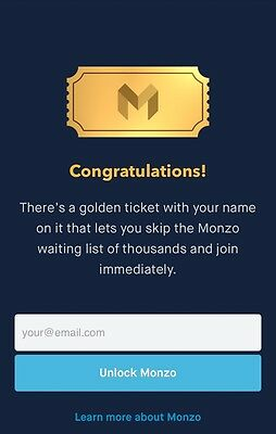 ⭐️ Monzo - Golden Ticket ⭐️ - Skip The Waiting List/Queue - Instant Sign Up