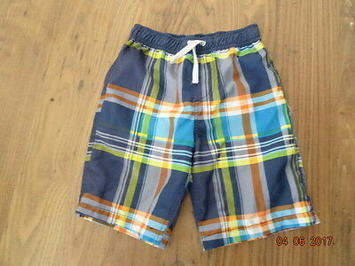 BOYS BLUE, GREEN AND ORANGE CHECK SHORTS - SWIM SHORTS age 6 years IN VGC