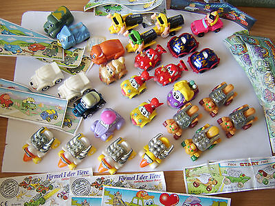 Vintage Kinder egg toys x 27 cars vehicles with funny faces 1996 onwards