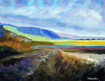 """"""" Across The Moor """"Painting in Acrylic on canvas board  by P A Burton"""