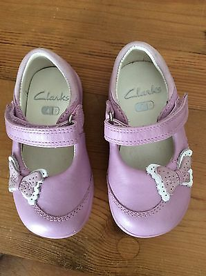 Clarks Baby Girls Summer Shoes - Lilac Leather. Hardly Worn. Size 4F.