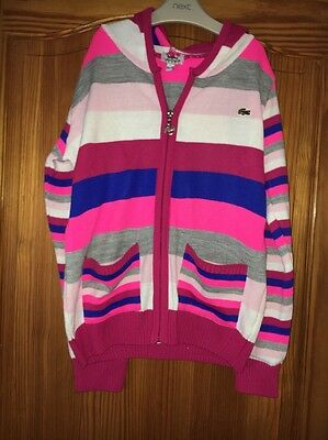 Girls Lacoste Pink Striped Hooded Zipper Age 14-15 Years