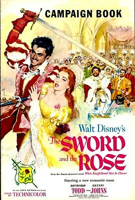 THE SWORD AND THE ROSE pressbook, WALT DISNEY, Richard Todd, Glynis Johns