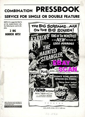 THE HAUNTED STRANGLER, FRIEND WITHOUT A FACE pressbook, Boris Karloff