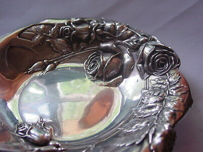 Antique STERLING SILVER REPOUSSE Ornate ROSES CANDY BON BON DISH WEDDING GIFT