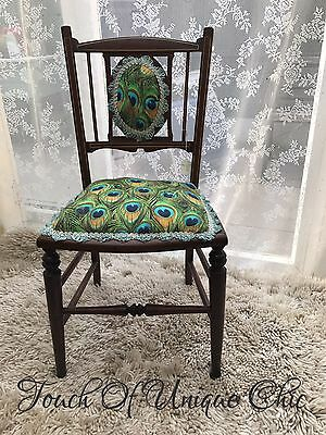 Antique Edwardian Inlaid Mahogany Peacock Occasional Parlour Bedroom Hall Chair