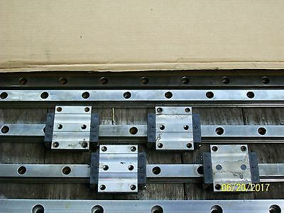 *1 Set* (4) Rexroth R165171420 Linear Bearing Block & (2) 2850Mm Guide Rail