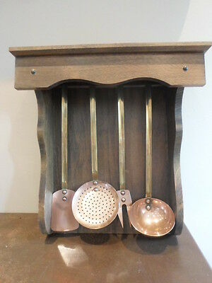 Set of 4 vintage French copper & brass kitchen utensils, with display shelf
