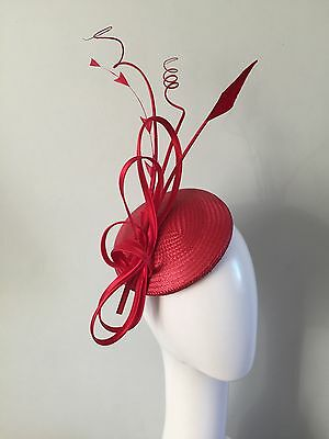 ladies poppy red mother of the bride wedding Hat fascinator headpiece ascot