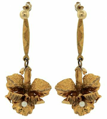 Ladies Antique Victorian 10K Yellow Gold Floral Pearl Drop Dangle Earrings
