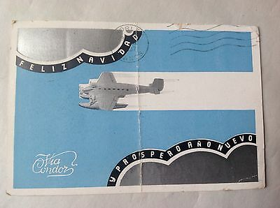 "Aviation Postcard Argentina 1936 - ""Feliz Navidad"" via Condor - Good But Folded"