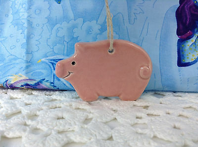 Country Pig Ceramic Made In New England/U.S.A. Tree Holiday Ornament With String