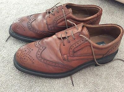 Mens Tan Brogue Leather Shoes Lace Up Size 10