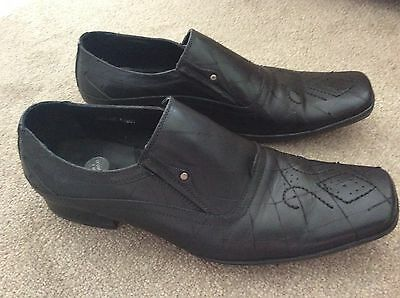 Azor Made In Italy Mens Black Leather Slip On Shoe Size 9/43