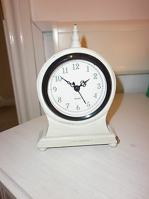 Small Mantle Clock, Shabby Chic, Cream, Battery Operated
