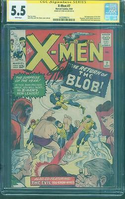 X Men 7 CGC SS 5.5 Stan Lee signed Jack Kirby art 1964 2nd Blob Magneto White pg