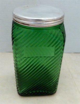 Vintage DEPRESSION Owens Illinois Green Ribbed Glass Hoosier Canister Jar + Lid