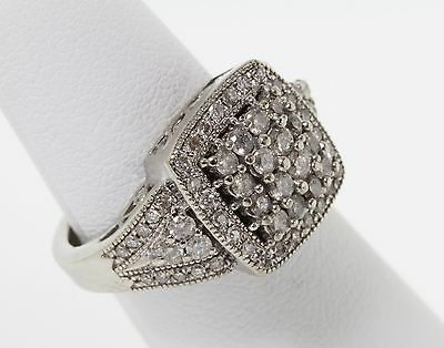 STUNNING Vintage Estate Solid 10k WG Round Diamond Pave 1.0 Carat TCW Gold Ring