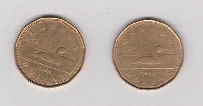2 CANADIAN $1 One Dollar LOONIE - 1988 & 1990 - Below Face Value