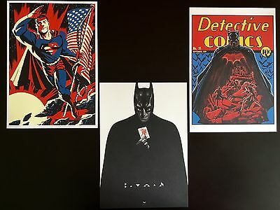Lot de 3 ex-libris (dessins) BATMAN et SUPERMAN - DC Comics  ( BD )