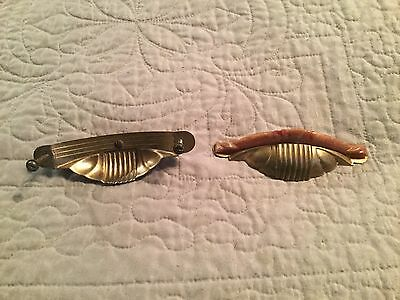 2 Vintage Marble Bakelite & Metal Waterfall Drawer Door Pulls Handles Beautiful