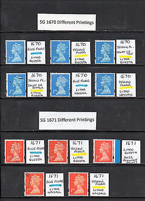 SG 1670/1671 2nd/1st Class Machins - Different Printings Specialised