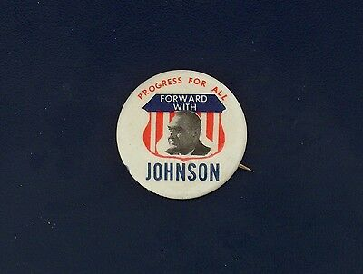campaign pin pinback button political badge election JOHNSON ADVERTISING 1.5""