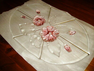 Price Drop-Mikasa Crystal Clear, Frosted & Pink Oval Platter,Calypso - Germany