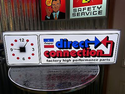 Vintage Chrysler Plymouth Direct Connection Lighted Sign Clock Hemi Mopar