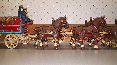 Vintage Cast Iron Clydesdale Horse Beer Wagon with 28 Wooden Barrels Budweiser