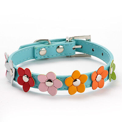 Blue XS Pet  Neck Strap Small DogFlower Studded Collar PU Leather Buckle