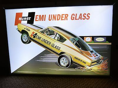 Vintage HURST HEMI UNDER GLASS PLYMOUTH CUDA LIGHTED GARAGE SIGN MOPAR 426