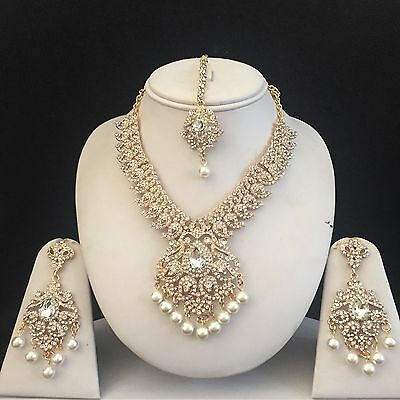 Gold Indian Costume Jewellery Necklace Earrings Pearls Crystal Set New Bridal